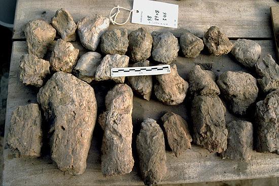 Hand-formed mud-bricks