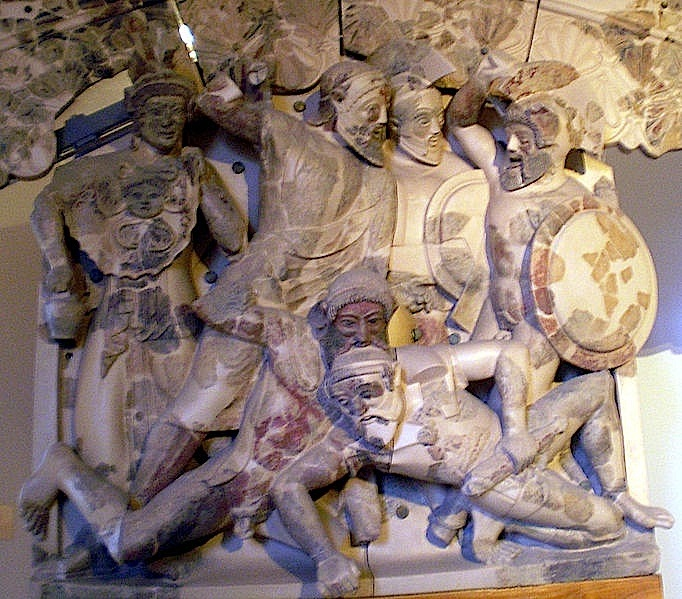 Museo Nazionale Etrusco di Villa Giulia, Rome. Detail of clay group with mythological scene from the Theban cycle, from the area of temple A at Pyrgi, mid-fifth century BC. Source: Wikimedia Commons