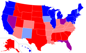 """Summary of results of the 1996, 2000, 2004, and 2008 presidential election"" Source: Wikimedia Commons"