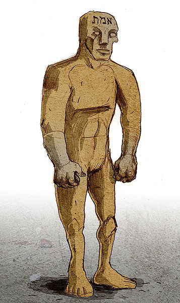 "Illustration of a golem by Philippe Semeria. The Hebrew word for ""Truth"", one of the names of God, is written on his forehead"