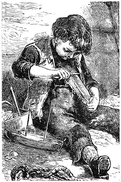 Boy whittling a boat from a piece of wood. Source: Wikimedia Commons