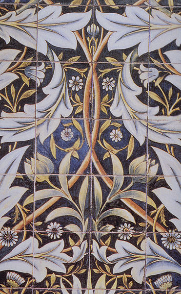 Part of a panel of tiles designed by william morris for for Azulejos william de morgan