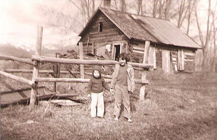 Me and my brother Dave at the remains of the Kelley Ranch in Lower Orchard Homes, Missoula, Montana.