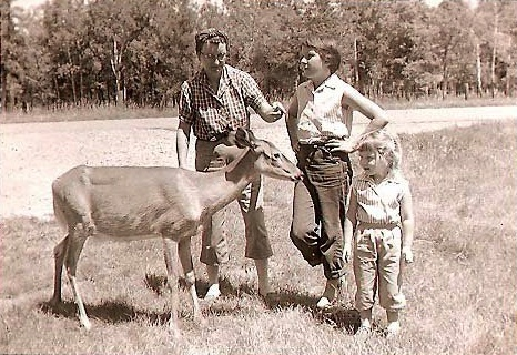 Standing my ground. Me, on right, with my Grandma, Aunt Susie, and doe at the National Bison Range