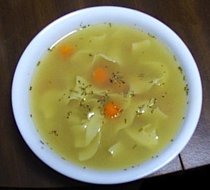 A bowl of chicken soup. By RWS via Wikimedia Commons