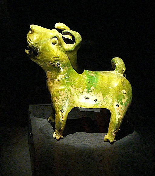 Green-glazed pottery dog, Eastern Han Dynasty, 25-220 A.D. Palace Museum (Beijing, China). By Rosemania via Wikimedia Commons
