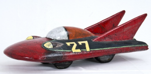 Ceramic raceing car sculpture, green and red, by Fritz