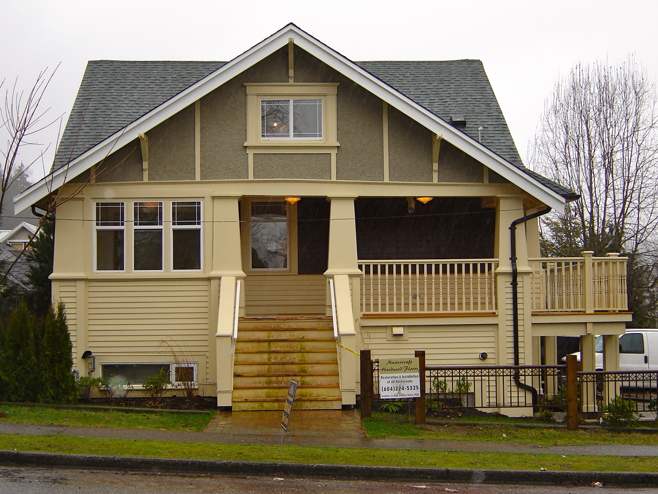 Adjacent to the last house is this modified Arts and Crafts-style bungalow. Soofi took advantage of Port Moody's new carriage house bylaw, placing two houses on one lot. Faces Grant Street.