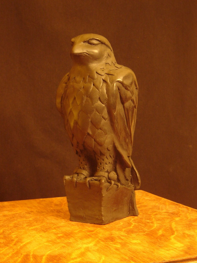 The finished replica of the Maltese Falcon.