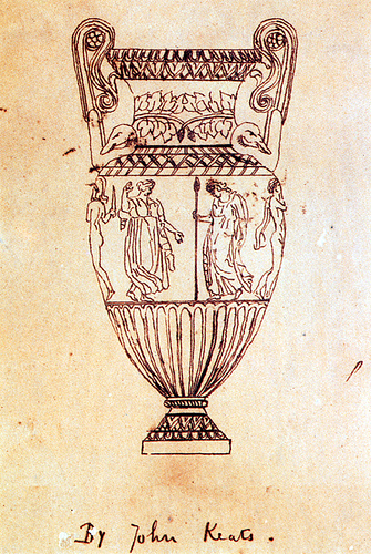 A Drawing Keats rendered of an engraving of the Sosibios Vase, circa 1819, Louvre Museum. By litmuse via Wikimedia Commons