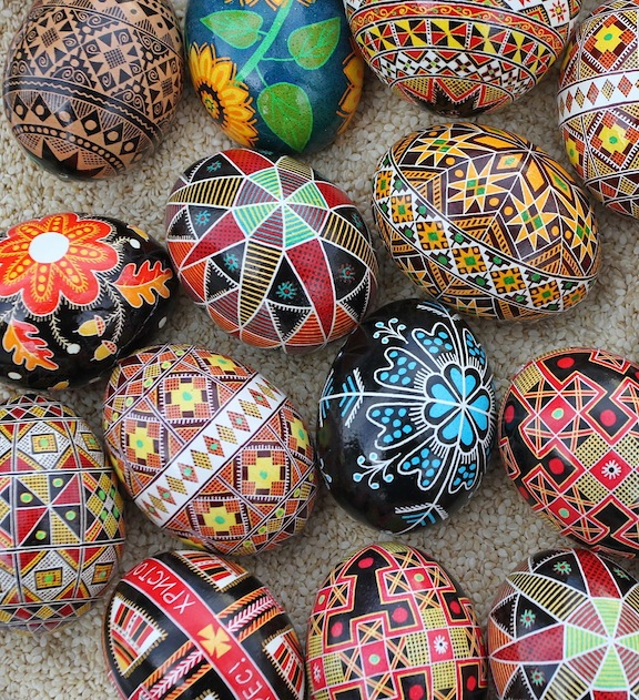 Ukrainian Pysanky: Beautiful, intricate wax resist Easter Eggs
