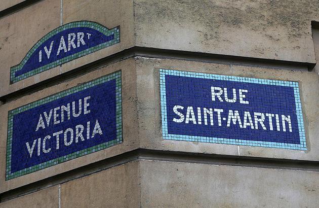 paris street signs, mosaics
